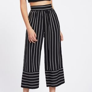 Pants - Flowy Striped Culotte Pants